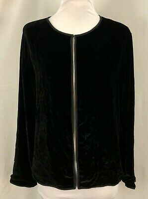 Eileen Fisher Womens Cardigan Solid Black Long Sleeves Lined Rayon Silk Large