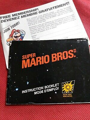 Super Mario Bros Nintendo Instruction Manual Booklet NO NES Game FREE SHIPPING