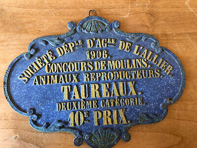 """Antique 1906 FRENCH AGRICULTURE AWARD,Heavy Blue&Gold Iron,""""Bull Breeders"""""""