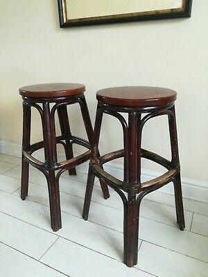 Pair of Bamboo Original Vintage Bar Stools