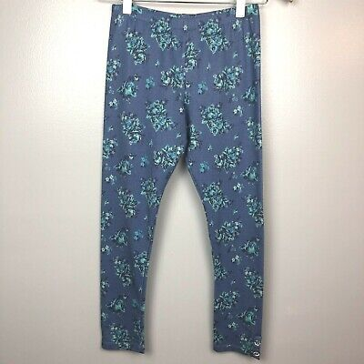 Self Esteem L Girls Leggings Floral Print Blue Stretch Bling Pants Large 10/12