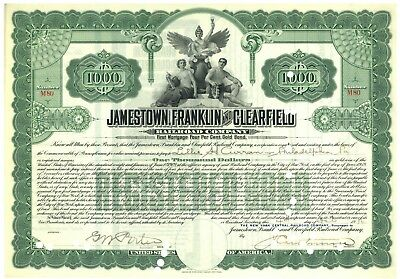 Jamestown, Franklin and Clearfield. Bond Certificate
