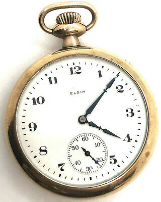 Antique 1920s ELGIN Open Face Pocketwatch w/ Seconds: Gold Plated - RUNNING