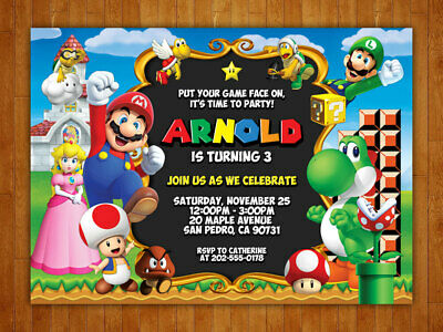 Custom Super Mario Birthday Party Invitations with FREE Thank You Card