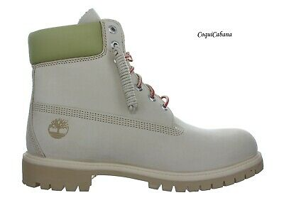 """Timberland Mens """"Premium 6 Inch"""" Light Beige Waterproof Leather Boots Size 10.5"""