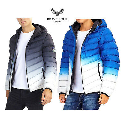 Brave Soul Mens Puffer Jacket Contrast Quilted Winter Designer Hooded Coats New