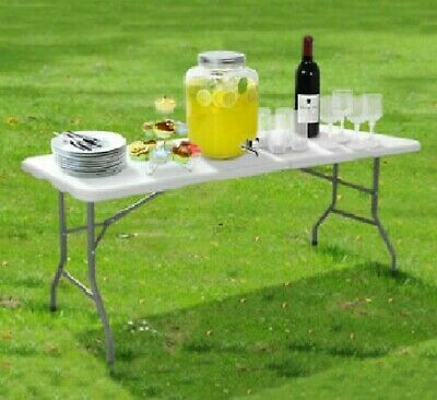 6ft & 4f Heavy Duty Folding Table Portable Plastic Camping Garden Party Catering