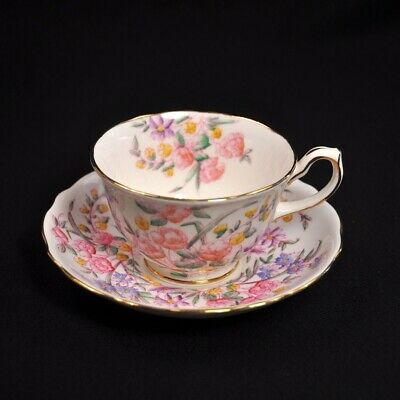 Hammersley Footed Cup & Saucer Bridal Rose #4438 Pink  Scalloped Gold 1939+