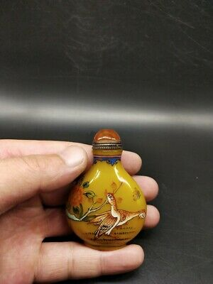 CH1021 China yellow green Pastel Hand Painted quail Snuff bottle Qianlong mark
