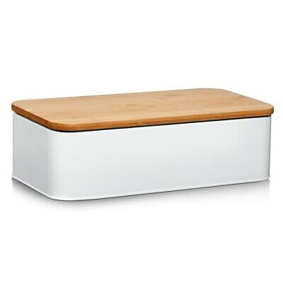 Metal Bread Bin Chopping Board Kitchen Food Storage Box Large Loaf Container