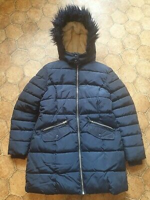 Girls M&S Navy Blue Padded Coat Age 11-12 Years