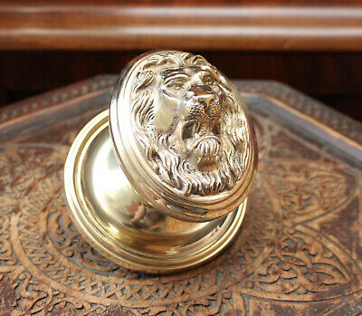 A Heavy & Large Solid Brass Lion Head Push / Pull Door Knob