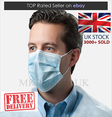 10 Disposable Surgical Flu and Anti Virus Face Masks 3ply with Ear Loop