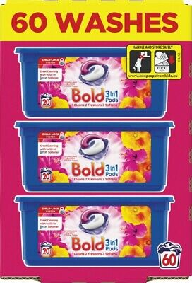 Bold 3-in-1 Washing Pods Liquid Gel Laundry Capsules - Bloom & Poppy - 60 Washes
