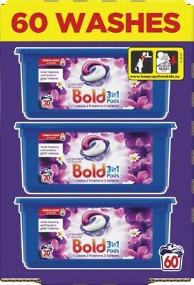 Bold 3-in-1 Washing Pods Liquid Gel Laundry Capsules Lavender/Camomile 60 Washes