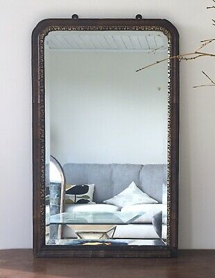 18th Century Antique Bevelled Veneered Giltwood Mirror, af. Wooden Georgian