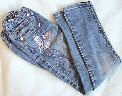Primark DENIM CO Girls Blue JEANS Pink Blue Embroidered Butterfly Age 5-6 Years