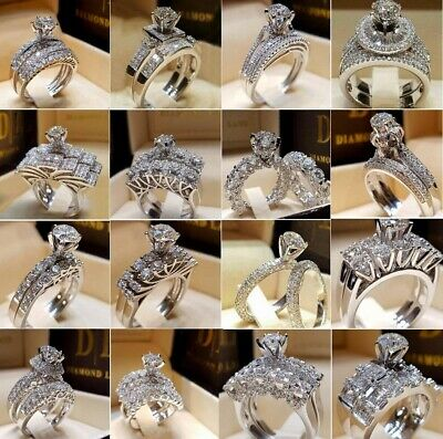 Elegant Women 925 Silver Jewelry Wedding Set Rings White Sapphire Ring Size 5-12