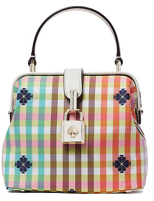 🌺🌹kate spade The Remedy Bella Plaid Top Handle Bag Multi/Gold