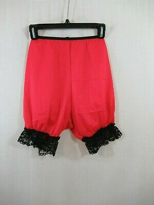Vintage 60s Pettipants Red Nylon Frilly Black Lace Simone