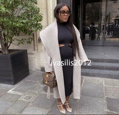 TAUPE SIZES XS S M L XL REF ZARA NEW FW19 BELTED COAT BROWN 2027//431