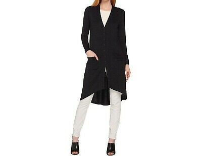 Lisa Rinna Collection Women's Hi-Low Knit Duster Cardigan Black Large Size QVC