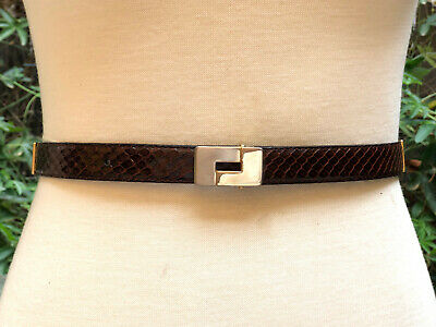 OROTON!!! Vintage 1970s 'Oroton' brown snakeskin belt with gold hinged links
