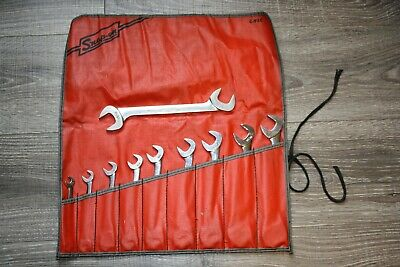 """Snap-on 10pc SAE 4-Way Angle Head Open-End Wrench Set 3/8""""-15/16"""" w/roll bag"""