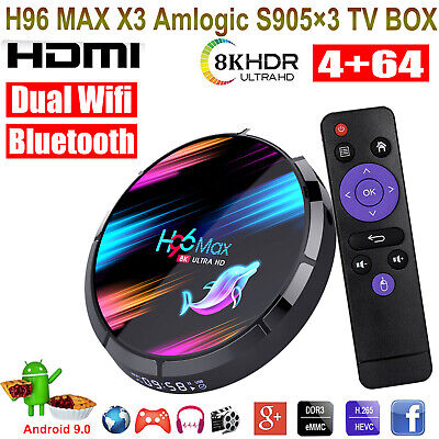 4+64G 8K H96 MAX X3 Android 9.0 5.0G WIFI BT Quad Core TV BOX USB Media Streamer