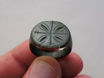 Ancient late Roman solid bronze nicely carved ring, circa by 8 - 10 century A.D.