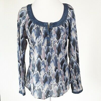 Roper Long Sleeve Blue feather print new with tags size medium BOHO Western