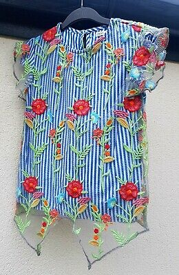Girls Clothes Age 11 Yrs, Next Floral Embroidered Mesh Layer Top, Party/Occasion