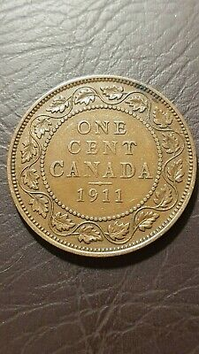 Canada 1 Cent 1911 George V Large Cent Copper Penny Coin