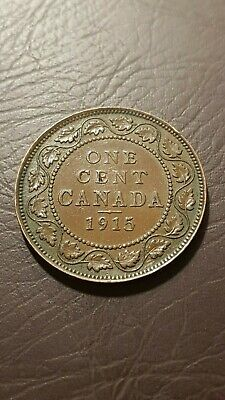 Canada 1 Cent 1915 George V Large Cent Copper Penny Coin
