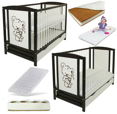 Baby Cot Bed With Drawer + Mattress & Toddler Guard Barrier Best Price