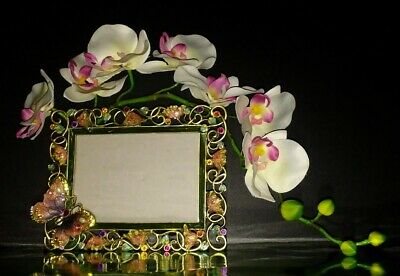 Frame Photo Picture Guilloche Enameled Bejeweled Butterfly Design
