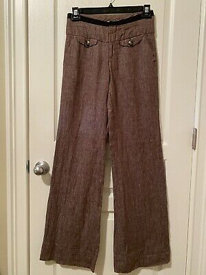 Anthropologie Elevenses Aerial Linen Trousers Size 2 Brown Wide Leg Casual
