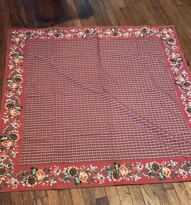 """April Cornell 1999 table cloth maroon floral 50"""" X 50"""" Square"""