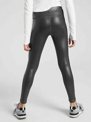Athleta Girl Powervita  Shine Tight NWT Large 12  NWT Mid Rise Black Shimmer