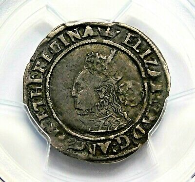 PGCS XF-45 TUDOR Elizabeth I Sixpence Daughter of Henry VIII England Silver Coin