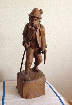 Man With Hat & Walking Stick Full Figure Carved Wood Black Forest/Swiss Antique
