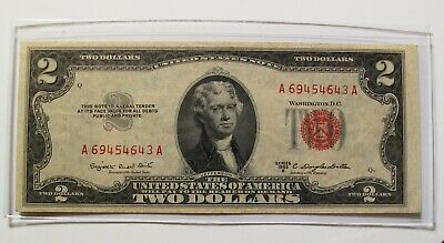 ✯ 1953 Two Dollar Note Red Seal ✯$2 Bill ✯US CURRENCY✯OLD MONEY✯ AU