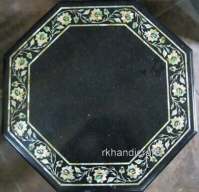 15 Inches Marble Bed Side Table Top Inlay Mother of Pearl Stone Patio Side Table