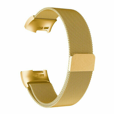 S For Fitbit Charge 3 Band Metal Stainless Steel Milanese Loop Wristband Strap