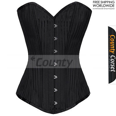 26 Double Steel Boned Waist Training Faux Leather Long Overbust Corset #8501-MC