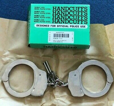 NEW! Galls Chain Double Lock Nickel Plated Steel Handcuffs 2 Keys Movie Prop