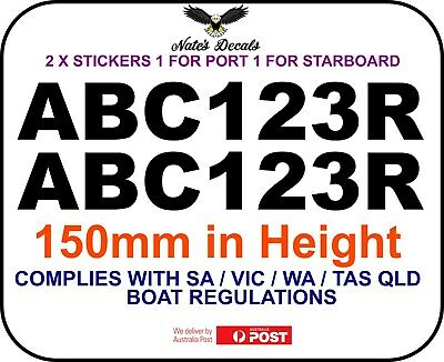 2x200mm 2 colour QLD,NSW,VIC,SA,WA,TAS BOAT REGISTRATION numbers letters decals