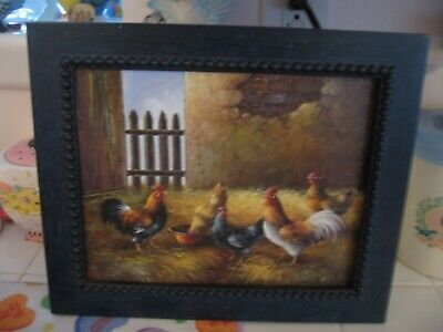 Beautiful Framed Oil Painting Of Chickens And Roosters Eating