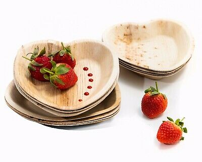 25 x Palm Leaf Heart Plate/Bowl Disposable Valentine's Eco Natural Bamboo Party