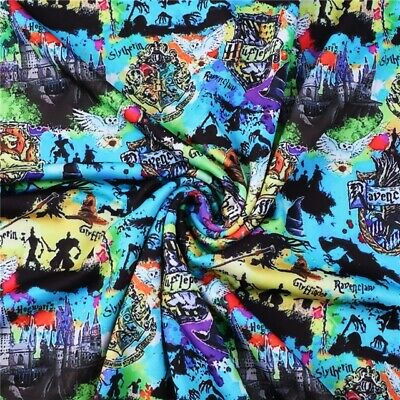 Fabric Rainbow Harry Potter Magic Print Stretch Lycra Knit 1/2 Yard 1/2 Meter